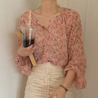 Image of Balloon-Sleeve Floral Print Chiffon Blouse Floral - Pink - One Size