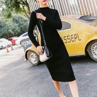 Plain Ribbed Long Sleeve Midi Knit Dress 1063814184