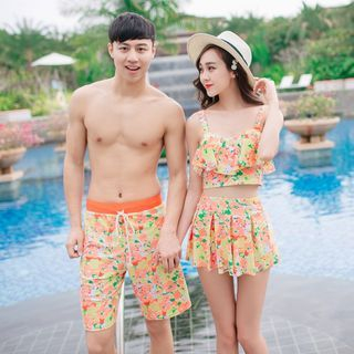 Couple Matching Set: Floral Swim Top + Swim Skirt + Swim Bottom / Floral Swim Shorts 1050393680