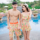 Couple Matching Set: Floral Swim Top + Swim Skirt + Swim Bottom / Floral Swim Shorts 1596