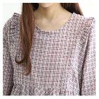 Puff-Sleeve Plaid Mini Babydoll Dress 1596