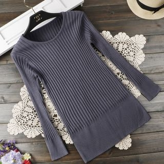 Ribbed Long-Sleeve Knit Top 1062805751