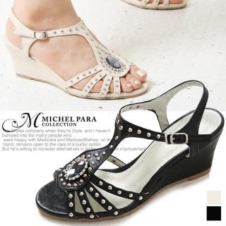Buy MICHEL PARA COLLECTION Rhinestone Studded Wedge Sandals 1022938132