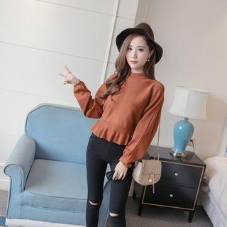 Ruffle Hem Plain Sweater 1054670983