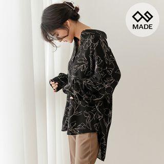 Seoul Fashion Drop-Shoulder Flower-Printed Blouse