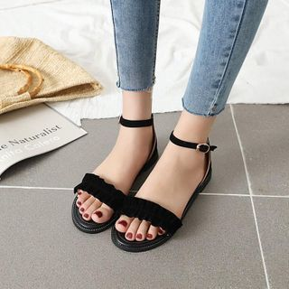 Image of Ankle-Strap Ruffle Flat Sandals