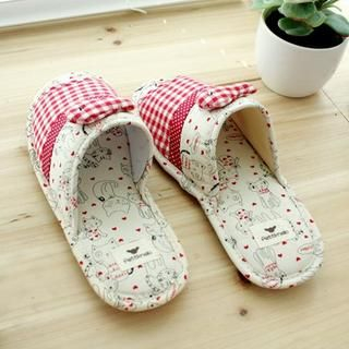 Cat Print Banded Back Slippers