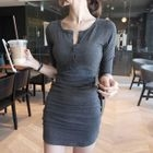 Long-Sleeve Buttoned Sheath Dress 1596