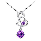 Heart shape purple cz necklace
