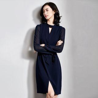 Cutout Tie-Waist Long-Sleeve Dress 1064426007