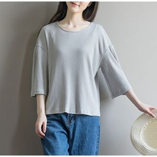 Ribbed 3/4-Sleeve T-Shirt 1060861445
