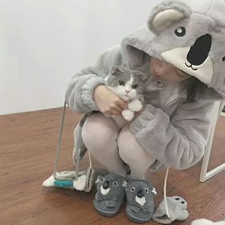 Image of Koala Accent Hooded Zip Jacket / Gloves / Mock Neck Long-Sleeve Knit Top / Plaid Mini A-Line Skirt / Set