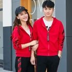 Couple Matching Set: Short-Sleeve T-Shirt + Hooded Zip-Up Jacket + Sweatpants 1596