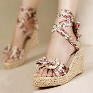 Buy Kvoll Tie-Ankle Floral Wedge Sandals 1022991210