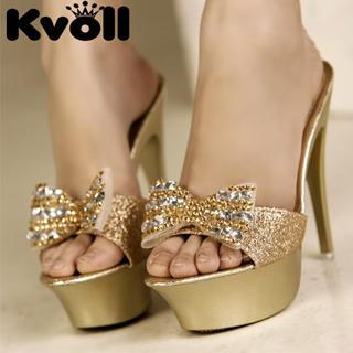 "Buy Kvoll Rhinestone ""Bow"" Glitter Platform Mules 1022991705"