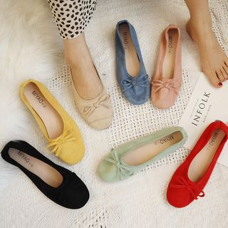 Image of Faux Leather Bow Flats