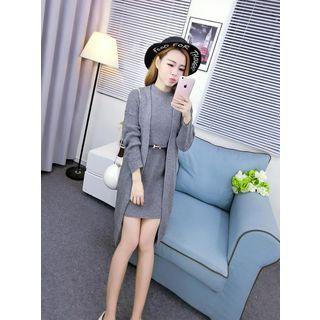 Set: Knit Tank Dress + Open Front Long Knit Coat