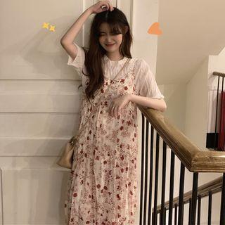 Short-sleeve | Spaghetti | Chiffon | Floral | Strap | Dress | Print | Top