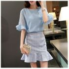 Set: Ruffle Cuff Blouse + Ruffle Hem Mini Skirt 1596