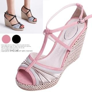 Picture of STYLE LINE T-Strap Satin Platform Sandals 1022884492 (Sandals, STYLE LINE Shoes, Korea Shoes, Womens Shoes, Womens Sandals)