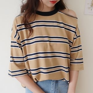 Striped Elbow-Sleeve T-Shirt 1061090369