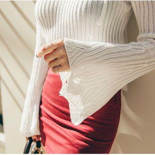Cutaway-Shoulder Rib-Knit Top 1061973302