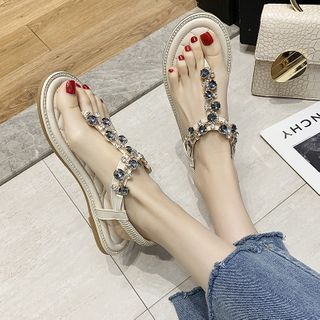Image of Rhinestone T-Strap Sandals