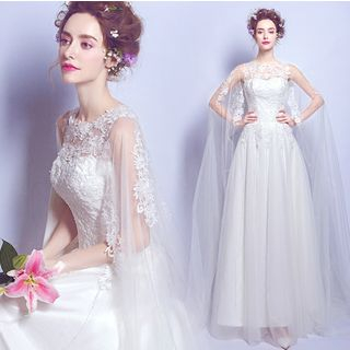 Image of Cape-Shoulder Lace A-Line Wedding Dress