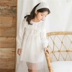 Kids Lace Trim Long Sleeve Dress 1596