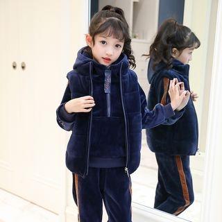 Kids Set: Velvet Long-Sleeve Hoodie + Vest + Sweatpants 1064750750