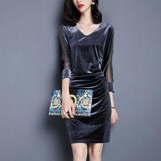 Image of 3/4-Sleeve Mini Velvet Sheath Dress