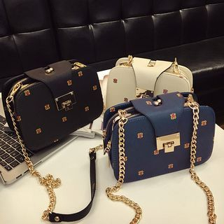 Chain Strap Patterned Crossbody Bag