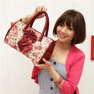 Buy Nantita Floral Print Boston Bag with Bow Red – One Size 1021688847