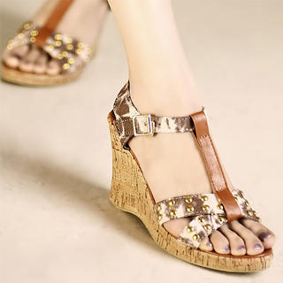 Buy Kvoll T-Strap Studded Platform Wedge Sandals 1023070385