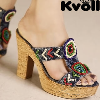 Buy Kvoll Denim Beaded Platform Mules 1023070629
