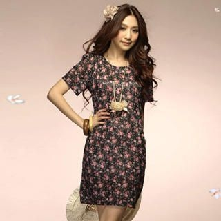 Buy Tokyo Fashion Short-Sleeve Floral Print Dress 1022550162