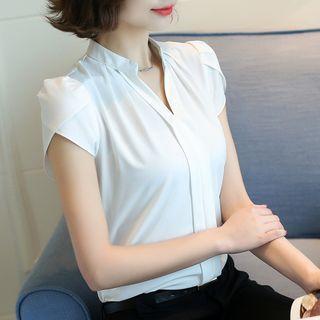 V-Neck Short-Sleeve Blouse 1050156125