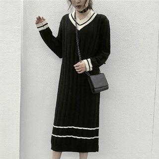 Contrast Trim V-Neck Ribbed Sweater Dress 1062577701