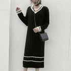 Contrast Trim V-Neck Ribbed Sweater Dress 1596