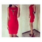 Zip Front Cutout Bodycon Dress 1596