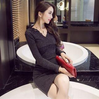 V-Neck Ribbed Knit Dress 1053373250