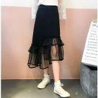 Asymmetric Ruffle Midi Skirt 1596