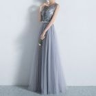 Sleeveless Lace Trim Evening Gown 1596