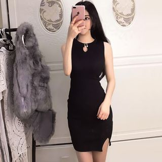 Keyhole Front Ribbed Bodycon Dress 1057253421