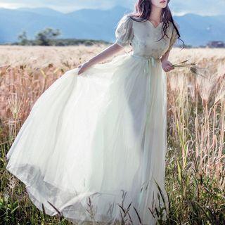 Short-Sleeve Tie Waist A-Line Maxi Dress 1055560573