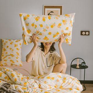 Bedding   Orange   Print   Bed   Set