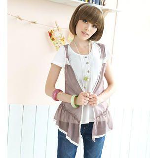 Buy Tokyo Fashion Set: Short-Sleeve Henley + Chiffon Vest 1022882846