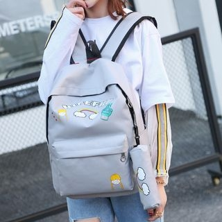 Set of 2: Printed Canvas Backpack + Pencil Case