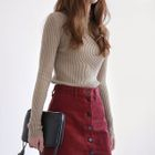 Mock-Neck Long-Sleeve Slim-Fit Ribbed Knit Top 1596