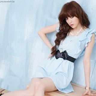 Buy D.P-Shop Ruffle Chiffon Dress with Belt Blue – One Size 1023034469